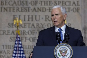 Vice President Mike Pence speaks at the National Space Council Meeting at the National War College at the Defense University at Fort McNair in Washington, D.C., on October 23, 2018. Photo by Tasos Katopodis/UPI | License Photo