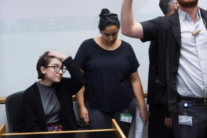 Student Lara Alqasem, 22, at left, waits for a hearing Thursday in Tel Aviv District Court in Tel Aviv, Israel. She has been accused of supporting a movement to advance Palestinian causes. UPI Photo | License Photo