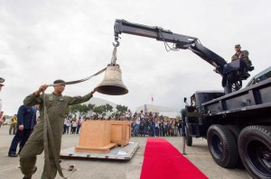 The Balangiga Bells are removed from a crate Tuesday for a special ceremony marking the return of the bells to the Philippines. Photo courtesy U.S. Embassy in Manila