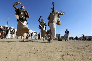 Supporters of the Houthi rebel movement perform traditional dances during a gathering to show support to the Houthi rebels, in Sana'a, Yemen, Thursday. Photo by Yahya Arhab/EPA-EFE