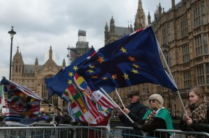 Brexit protesters hold EU flags outside the Houses of Parliament in London on December 12. Photo by Hugo Philpott