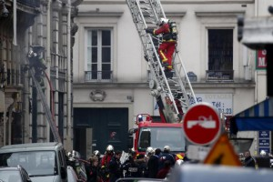 Firefighters at the scene of an explosion at a bakery near Rue de Trevise in Paris, France, January 12, 2019. Two firefighters have died following a suspected gas leak that led to an explosion of a bakery in Paris