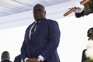 New Congolese President Felix Tshisekedi appears at his inauguration ceremony Thursday at the Palais de Nation in Kinshasa, Democratic Republic of the Congo. Photo by Kinsella Cunningham