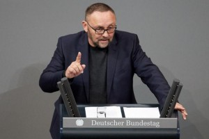 Frank Magnitz of the Alternative for Germany party speaks during a session of the German Bundestag in Berlin last February. File Photo by Hayoung Jeon