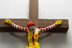 "The mayor of Haifa, Israel, said on Wednesday that ""McJesus,"" a controversial sculpture depicting a crucified Ronald McDonald, will be removed from an exhibit at the Haifa Museum of Art. Photo courtesy of Haifa Museum of Art"