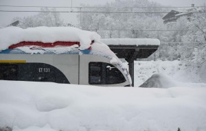 A snow covered train is seen Thursday at a station in Berchtesgaden, Bavaria, Germany. Photo by Lukas Barth-Tuttas