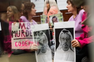 Members of the activist group Code Pink occupy the office of Rhode Island Sen. Jack Reed on October 22, as they protest the death of reporter Jamal Khashoggi and U.S. arms sales to Saudi Arabia. Photo by Kevin Dietsch/