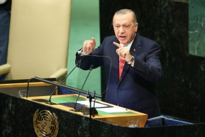 Turkish President Recep Tayyip Erdogan speaks at the United Nations General Assembly on September 25. File Photo by Monika Graff