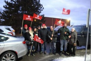 Unionized workers of the Lear car seat assembly plant in Whitby, Ontario, Canada, walked off the job on Friday in solidarity with their union's campaign to save a General Motors assembly plant in nearby Oshawa, Ontario. Photo courtesy of Unifor/Twitter