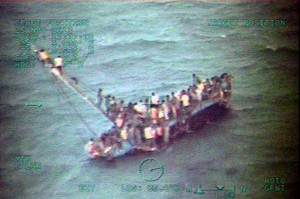 Officials said at least 28 people drowned when an overloaded boat carrying Haitian migrants, similar to this one, capsized off the Bahamas. Photo by U.S. Coast Guard/