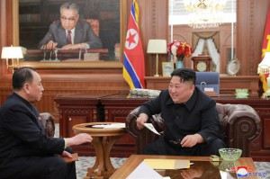 """North Korean leader Kim Jong Un (R) continues to be """"idolized"""" in the country, according to a recent press report. File Photo by KCNA"""