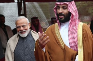 Crown Prince Mohammed Bin Salman meets with Indian Prime Minister Narendra Modi during a ceremonial reception at the president's house in New Delhi. Photo by Harish Tyagi
