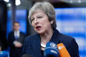 British Prime Minister Theresa May speaks to the media Thursday after a meeting with the European Council Donald President Tusk in Brussels on Britain departing from the European Union. Photo by Stephanie Lecocq