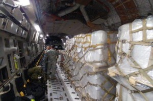 USAID relief supplies are shown en route to Colombia Saturday as part of the U.S. response to humanitarian crisis in Venezuela. Photo courtesy of Mark Green/USAID