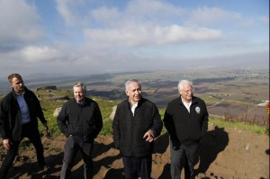 Israeli Prime minister Bejamin Netanyahu (2-R), U.S. Sen. Lindsey Graham and U.S. Ambassador to Israel David Friedman (R) visit the Golan Heights area Monday. Photo by Ronen Zvulun