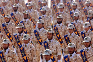 Iranian revolutionary guard soldiers march during an annual military parade in Tehran, Iran. File Photo by Abedin Taherkenareh