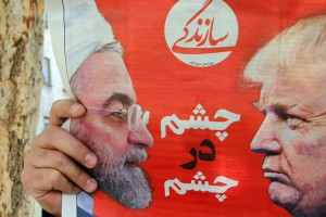 An Iranian newspaper depicts Iranian President Hassan Rouhani and U.S. President Donald Trump on its April 8 front page