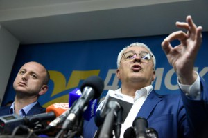 Andrija Mandic (R) and Milan Knezevic, leaders of the pro-Russian opposition Democratic Front, said they will fight their convictions